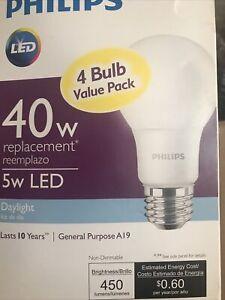 Philips 40W Equivalent Daylight A19 Medium LED Light Bulb (4-Pack) 461160  - 1