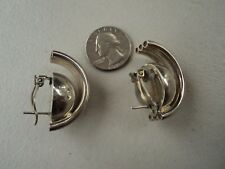 Vtg Taxco Unique Design Mexico 925 Silver Earrings Signed TC-158 Hard To Find!
