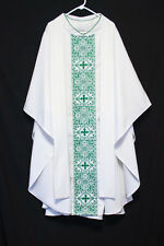 WHITE CHASUBLE & STOLE Green Embroidery Crown of Thorns, Priest Vestments Church