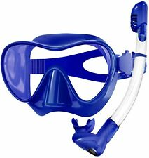 Snorkel Set Frameless Snorkel Goggles Foldable Snorkel Gear (Blue,Size:L)