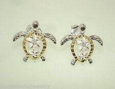 14mm 2-T Yellow Gold Plated 925 Silver Hawaiian Turtle Plumeria CZ Stud Earrings