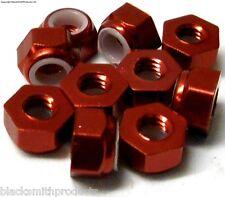NM410R M4 4mm Nylon Alloy Aluminium Lock Nuts x 10 Wheel Axle 1/10 Red