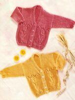"""Tulip & Eyelet Border Baby Cardigan DK Knitting Pattern 0-3 Years 16"""" - 22"""""""