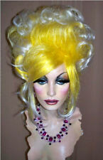 Drag Queen Wig Up Do in Yellow and White Tips French Twist Curls