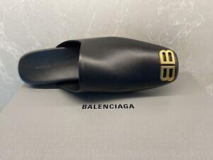 $695 New Balenciaga Cosy BB Men's Mules Goldtone BB Size 11 Fits 11.5-12