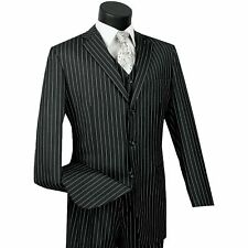 VINCI Men's Black Banker Stripe 3 Piece 3 Button Classic Fit Suit NEW