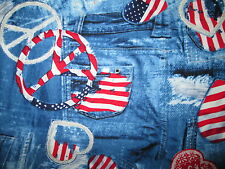 PEACE SYMBOLS DENIM BLUE JEANS POCKETS USA FLAG COTTON FABRIC FQ