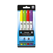4 Brightly Coloured Glass Window Marker Pens Art Craft Colour Marking Drawing