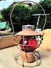 Antique/Vintage Handlan St. Louis Railroad Lantern W/Red Glass Globe Etched PRR