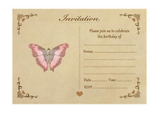 Vintage Butterfly Birthday Invitations With Brown Kraft Envelopes - Pack of 20