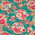 Green Sakura&Chrysanthemum Japanese Oriental Fabric Cotton Fat Quarter FQ #F0021