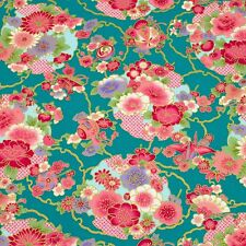 Green Sakura&Chrysanthemum Japanese Oriental Fabric Cotton Fat Quarter FQ #F0021