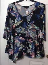 Karen Kane Rosewater Asymmetrical Peplum Plus Size 3X Top Tunic Flowered