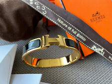 Classic Hermes Clic Clac Bracelet BLACK Enamel Gold Hardware PM Narrow Bangle