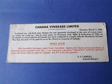 CANADA VINEGARS LIMITED ADVERTISE INK BLOTTER QUARTERLY DIVIDEND CHEQUE NOTICE