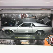 M2 Machines Auto Mods 1970 70 Ford Mustang Boss 429 Silver Die Cast Car 1/24