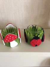 A PAIR OF UNUSUAL TEALIGHT HOLDERS WITH COLOURFUL DESIGN FELT SURROUND #B