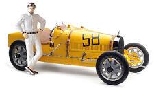 1:18 CMC Bugatti T35 yellow w/female pilot figurine M-100B-017