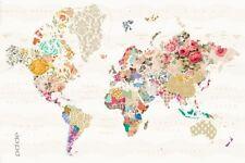 Poster Weltkarte mit typischen regionalen Mustern 91,5 x 61 cm
