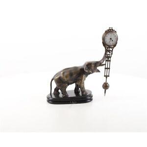9973876-ds Bronze Skulptur Figuren-Uhr Elefant 25x14x28cm