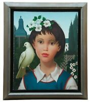 Philippe Bonamy (French, b.1926) Oil painting on Canvas Portrait Girl with Dove