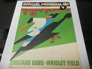 1968 CHICAGO CUBS PROGRAM SCORECARD VS REDS RARE MLB BASEBALL BENCH ROSE AUTOS