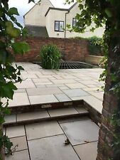 Sawn and Honed Raj Green Indian Sandstone Paving Patio Slabs. 20mm