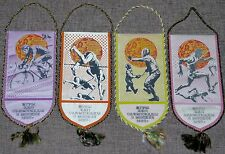 1980 MOSCOW OLYMPICS GAMES SET OF 4 OLYMPIC PENNANT RARE