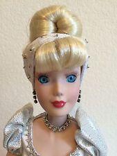 "Disney Princess 16"" Porcelain Cinderella Doll Silver Dress HTF STAND Collectible"