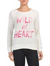 "NWT CHASER ""Wild At Heart"" Size Medium Knit Top Cream Raglan Pullover Sweatshirt"