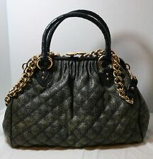 MARC JACOBS STAM BAG KISSLOCK FRAME SATCHEL OSTRICH TRIM QUILTED HANDBAG $1550