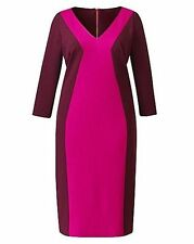 Simply Be Size 16 Anna Scholz Maroon Pink Colour Block 60's Illusion DRESS Party