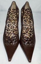 022e2e61003 Dolce   Gabbana Brown Leopard Leather Pointy Classic Pump Heels Size 39 ...