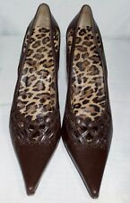 Dolce & Gabbana Brown Leopard Leather Pointy Classic Pump Heels Size 39 / US 9