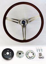 "Ford Bronco Ranchero F100 Wood Steering Wheel 15"" low gloss finish grip"