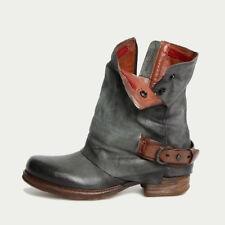 Women Zipper Leather Combat Biker Boots Ladies Flats Low Heel Shoes Ankle Boots