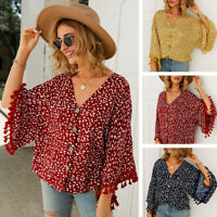Summer Womens Fringed Sleeve V-Neck Button Tops Loose Blouse Shirt Beach Wear