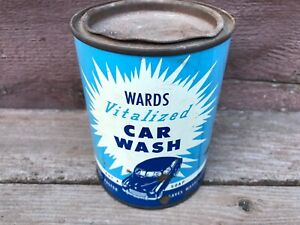 Old VTG WARDS Vitalized Car Wash Tin Can c.1940's