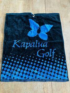 Kapalua Golf Course Hawaii Cart Size Black Blue Soft Microfiber Towel with Clip