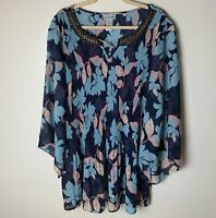 Catherines Women's Top Size 3X Beaded Neckline Floral 3/4 Sleeves Casual Dressy