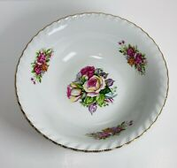 Vintage Porcelain Serving Bowl Rippled Edge Gold Trim Roses 🌹9""
