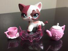 Littlest Pet Shop Cat #2291 Pink White GlitterSparkle Short Hair & 3-Accessories