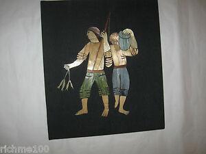 Original Hand Made Inlay Straw Inlaid Folk Art Picture Fishermen Vintage Israel