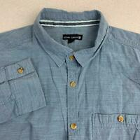 Ocean Current Button Up Shirt Mens XL Blue Long Sleeve 100% Cotton Casual Shirt