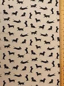 Dachshund dog fabric 80% Cotton 20% Poly material metre upholstered finish gifts
