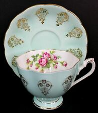 Queen Anne Vintage Bone China Tea Cup and Saucer Blue and Gold England 5521