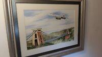 Original Concorde watercolour over Bristol suspension bridge beautiful picture