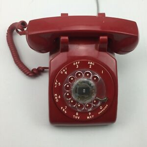 Vintage Stromberg Red Rotary Dial Desk Telephone Phone Receiver Cord 500DN 7 83
