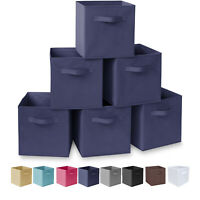 HOMESTO 11-Inch Fabric Foldable Storage Cubes Bins Cubby with Handles (6-Pack)