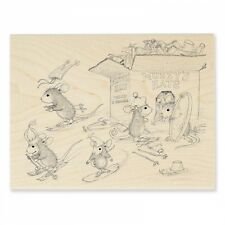 HOUSE MOUSE RUBBER STAMPS HAT BOX NEW WOOD STAMP